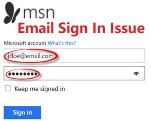 MSN email sign in issue